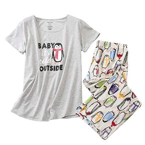 ENJOYNIGHT Women's Sleepwear Tops with Capri Pants Pajama Sets (Medium, Penguin) (Apparel)