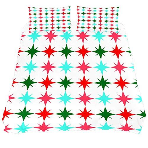 267 JlOn Microfiber Duvet Cover Sets 3 Pieces (2 Pillowcase,1 Duvet Cover) Christmas Decorative Bedroom Double