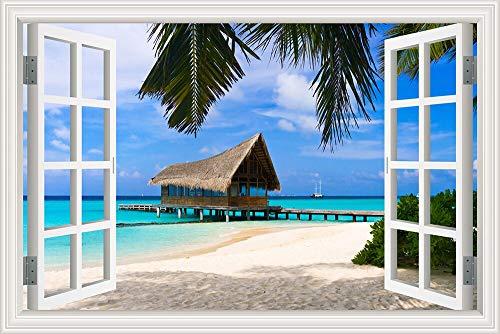 Mar azul Cielo azul Verano Naturaleza nubes ola playa sol Paisaje etiqueta de la pared Calcomanía de PVC Papel tapiz 3D Ventana Ver póster dormitorio Decoración póster