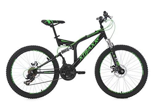 KS Cycling Jugendfahrrad Mountainbike Fully MTB Xtraxx 24'' schwarz-grün RH 43 cm