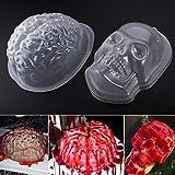 Pbpbox Halloween Brain Gelatin Mold plastica zombie cervello–2confezione