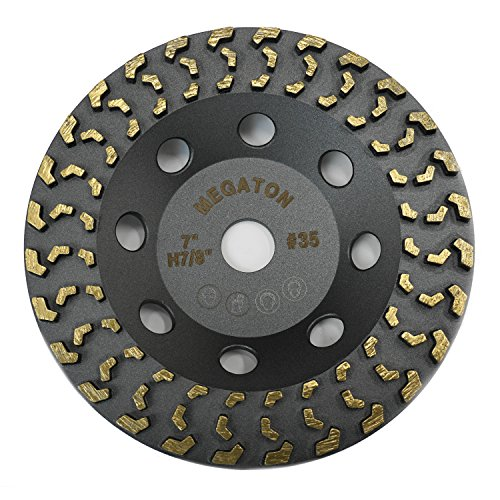Megatron 7' Diamond Cup Grinding Removing Disc Wheel for Any Concrete, Paint, Epoxy, Glue and Mastic with CDB Newest Technology (Megatron 7')