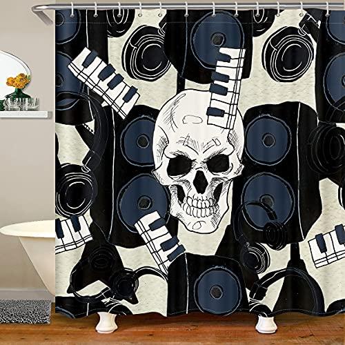 Loussiesd Cortina de baño con diseño de calavera de azúcar para niños, cortina de ducha de piano, juego de cortina de ducha de tela de bocina, cortinas impermeables de música abstracta de 122 x 178 cm