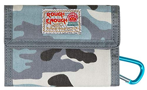 Rough Enough Camo Blue Canvas Boys Keychain Card Wallet for Girls Teen Credit Card Holder Organizer Coin Purse Pouch with Zipper Pocket and Carabiner for Sport Outdoor Christmas Thanksgiving Gifts