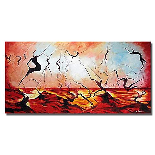 SHYHSCLBD olieverfschilderij op canvas handgeschilderd, abstract rode lak, zwarte lijngetallen, olieschilderij voor kunstenaars startskant decoratie wanddecoratie 80×160cm