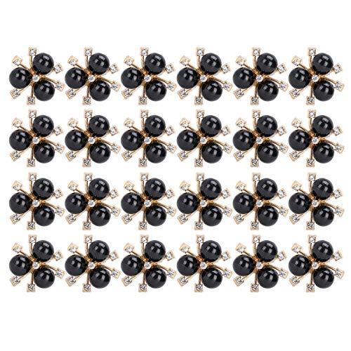 Diamantes de imitación de flor de perla de bricolaje, diamantes de imitación de flor de perla broche de brazalete de ropa de bricolaje para carnavales para bodas para ceremonias para(black)