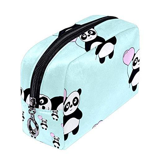 Shiiny Trousse de maquillage en forme de panda et de cœur pour femme Sac de voyage étanche multifonction portable