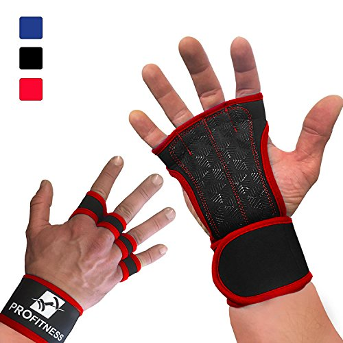ProFitness Workout Gloves with Wrist Support Best Workout Gloves for Weight Lifting, Gym Workouts (Red, Large)