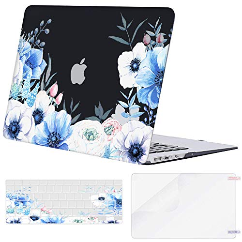 MOSISO MacBook Air 13 inch Case (A1369 & A1466, Older Version 2010-2017 Release), Plastic Myosotis Hard Shell Case&Keyboard Cover&Screen Protector Only Compatible with MacBook Air 13 inch, Black