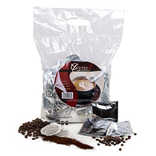 Yvette Megabeutel Dark Roast Kaffeepads, Röstkaffee, Kaffee, passend für Senseo, 100 Pads