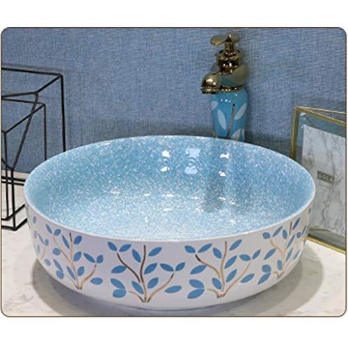 Lavabo de cerámica,Lavabo de piedra Cuenca sanitaria Lavabo del baño Lavabo óvalo de cerámica (Color : Blue)