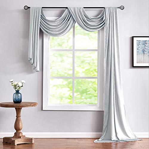 "Fmfunctex Grey Sheer Scarf Curtain for Living-Room Silky Soft Semi-Sheer Swag Window Valance for Bedroom 38"" x 216"" 1 Panel"