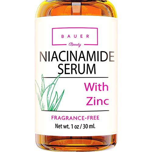 Bauer Beauty Niacinamide Face Serum With Zinc Pore Minimizer Acne Scar & Anti Aging Brightening Glow Serum