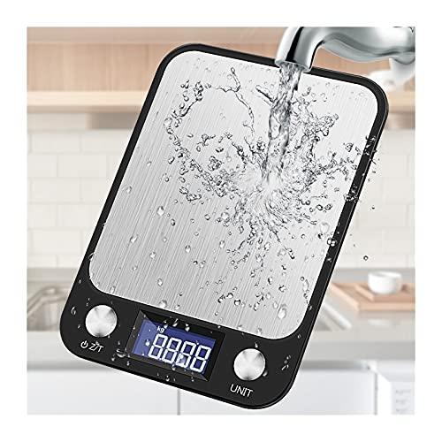 OKIJU Báscula Digital 5-10kg Botón de Escala de Cocina Muestra multifunción alimento Digital 0.1g de Acero Inoxidable de Acero Inoxidable Herramientas de cocción Balance Báscula de Cocina