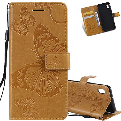EMAXELER Galaxy A10E Case Shockproof PU Leather Retro 3D Butterfly Embossed Wallet Flip Case Magnetic Stand with Card Slot Folio Cover for Samsung A10E Butterfly Yellow KT