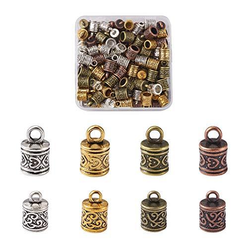 Beadthoven - 128 tapones de cordón de plata tibetana, 4 colores, pegamento en cuerda, terminadores de cuero, cierre de barril, para hacer joyas