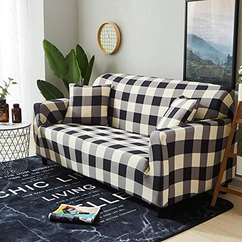 NLADTWLSD Funda de sofá de Alta Elasticidad, impresión Fundas para Sofa Antideslizante Cubierta para Sofa Protector para Sofás Lavable para el Salón (4 Asiento,Enrejado)