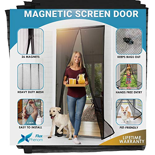 Flux Phenom Magnetic Screen Door Closure - Mesh Screen Doors with Magnets - Retractable and Sliding Screen Door Replacement