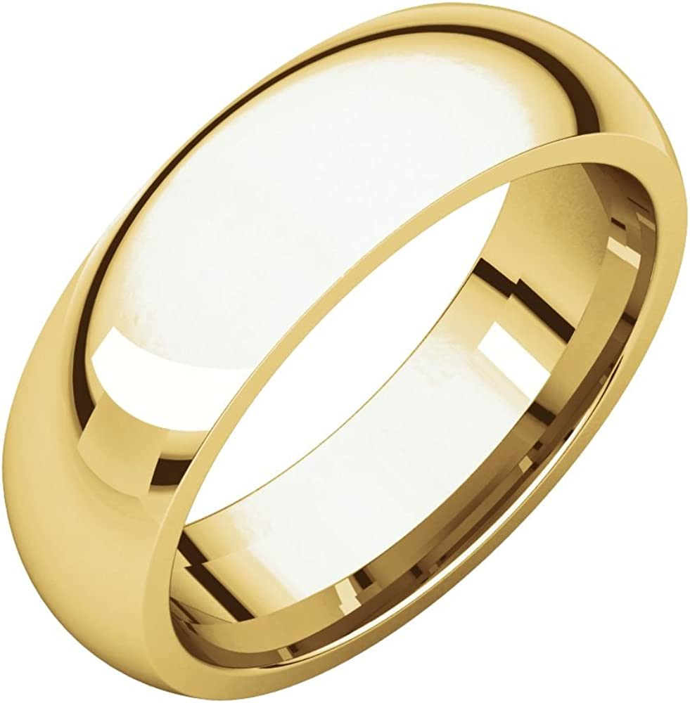 Jewels By Lux 14K Yellow Gold 6mm Comfort Fit Wedding Ring Band
