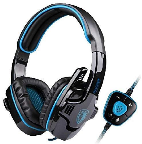 WuMei101 Auriculares de la computadora Auriculares Auriculares Auriculares Auriculares alámbrico música de Cine y telefonía televisiva (Color : Blue)
