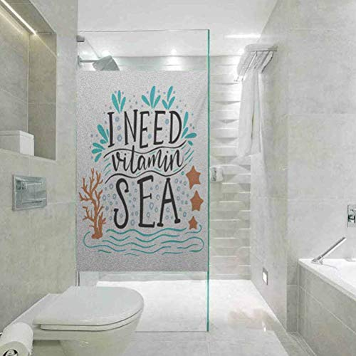 Durable Waterproof, Oil Resistant Glass Film, Sea I Need Vitamin Sea Inspirational Quote Hand Drawn with Coral, Living Room Bedroom Kitchen Lobby Porch Office, 23.6'x47.2'