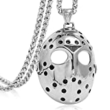 FIZIZDH Men's Stainless Steel Jason's Mask Hollow Openwork Pendant Necklace, 24...