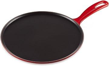 "LE CREUSET L2036-2767 Enameled Cast Iron Crepe Pan with Rateau and Spatula, 10.75"", Cerise Cherry"