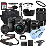 Sony Alpha a6000 Mirrorless Digital Camera with 16-50mm and 55-210mm Lenses + 32GB Card, Tripod, Case, and More (19pc Bundle)