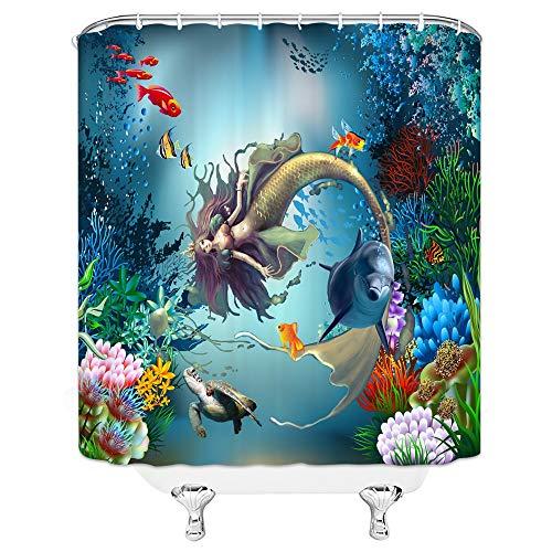 Meerjungfrau Duschvorhänge, Schöne Mädchen Fischschwanz Grün Ozean Meeresboden Badezimmer Dekor, Badewanne Wasserdicht Polyester Hang Vorhang Set Delphin 150x200cm