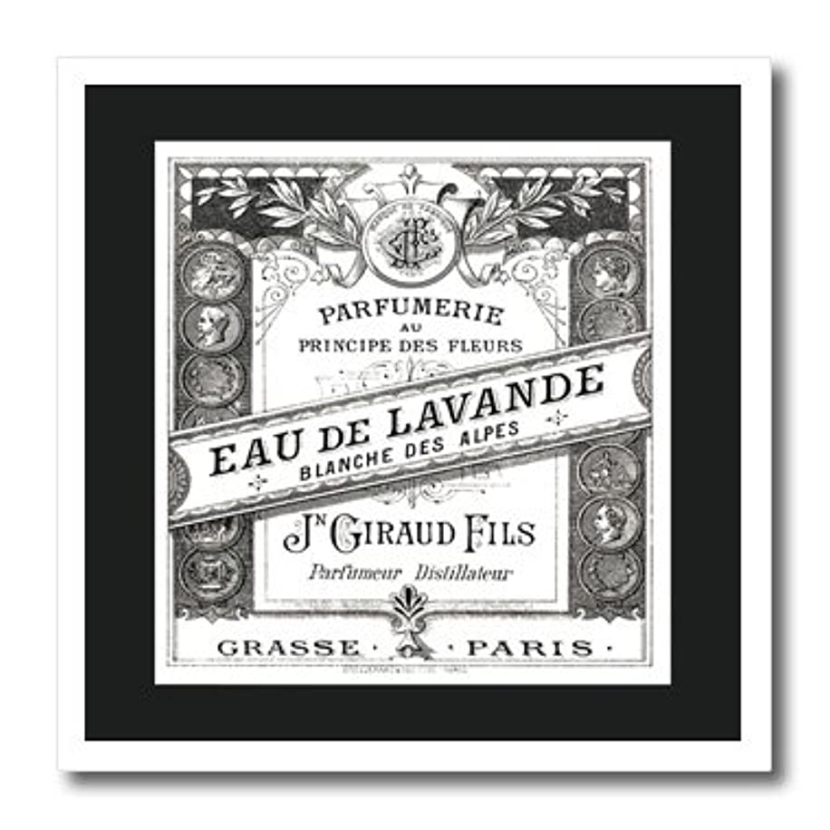 3dRose Image O Vintage F Paris Perfume Label in Black and White-Iron on Heat Transfer, 8 by 8
