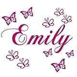 Wandschnörkel  Wandtattoo Wandaufkleber mit dem Namen ihres Kindes personalisiert Wunschnamen + 10 Schmetterlingen 60 & 120 Spruch Kinderzimmer Mädchen Junge viele Farben