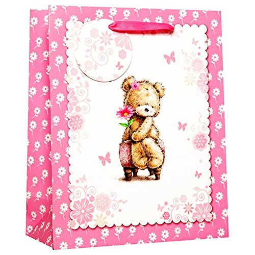 Simon Elvin Cute Teddy Bear Gift Bag (Pack of 6) (Large (H12.6 x W10.2 x D4.8in)) (Pink/White)