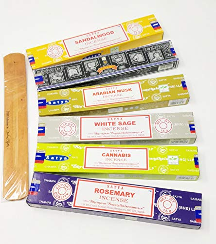 Satya Incense Sticks Mix Deal- White Sage, Cannabis, Arabian oud, Sandalwood, Superhit, Rosemary with JR Incense Holder SN1