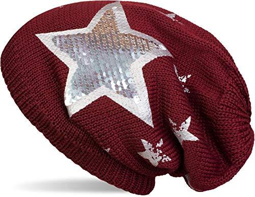 styleBREAKER warme Feinstrick Beanie Mütze mit All Over Vintage Stern Print, Pailletten Stern und sehr weichem Fleece Innenfutter, Unisex 04024091, Farbe:Bordeaux-Rot
