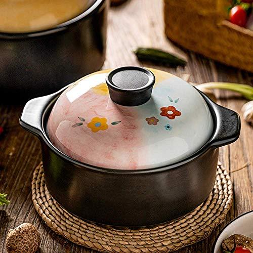 Sywlwxkq Cacerola de 2.8 L / 4.3 L, Olla de cerámica con Tapa, Olla de Sopa para la Salud del hogar, Resistencia a Altas temperaturas, Apta para Fuego de Gas, Ideal para Horno de cocción cl