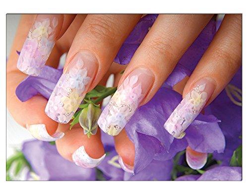 Poster Lila Flower Nailart Nails DIN A3 Nagelstudio Nageldesign Nailart Wandgestaltung Kosmetik Nails 29,7x42,0cm