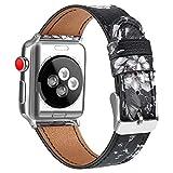 AK Bracelet Compatible pour Bracelet Apple Watch 38mm 40mm,Cuir de Grain Double Tour Remplacement Compatible pour iWatch Série 5,4,3,2,1 (03 Fleur Grise, 38/40mm)