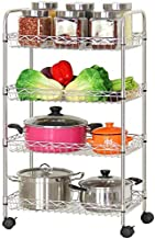 Home Living Museum/Stainless Steel Kitchen Storage Rack Floor Mobile Rack with Wheels Multi Layer Storage Racks (Size : La...