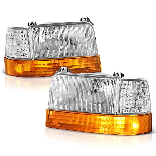 VIPMOTOZ Chrome Bezel OE-Style Headlight & Amber Corner Side Marker Lamp Assembly For 1992-1996 Ford Bronco & F-150 F-250 F-350 Pickup Truck, Driver & Passenger Side
