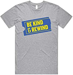 """【ATHLETIC/SLIM FIT】Order a size larger if you like a looser fit 【BE KIND, REWIND SHIRT】This retro novelty shirt is the perfect funny gift for '90s kids, movie fans, or anyone with a sense of humor. Front of shirt says """"Be kind, rewind"""" on a video cas..."""
