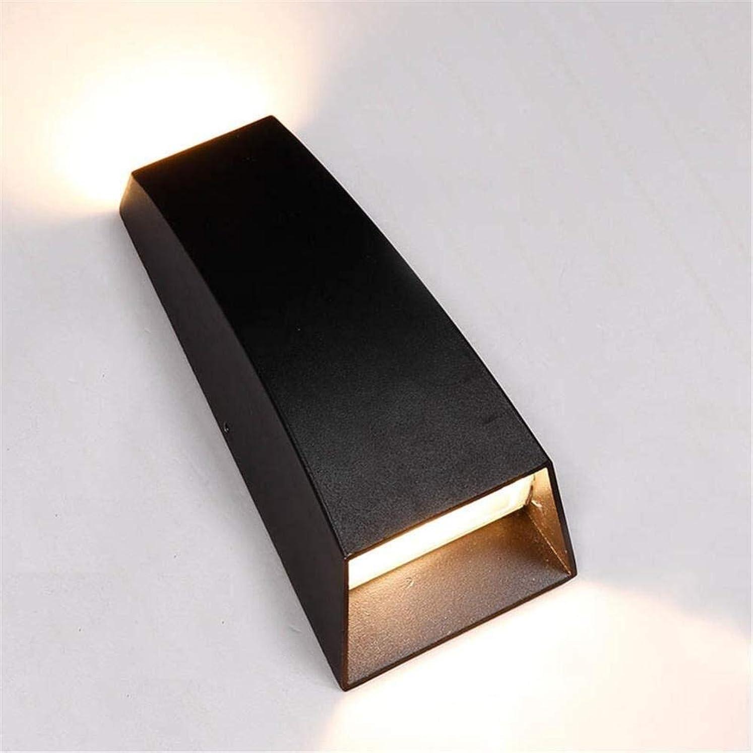 社会伝導率ビザCattleBie 導かれた屋外の壁ランプ防水アイルヴィラ上下フォトバルコニー外壁シンプルなダブルヘッドスポットライト (Color : Black)