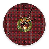 掛け時計 クリスマス 格子 エルク 壁掛け時計 掛時計 静音 clock サイレント 壁時計 部屋 リビング 玄関 インテリア コンパクトサイズ 電池式 木掛け鐘 大数字 円形 贈り物 直径 30cm
