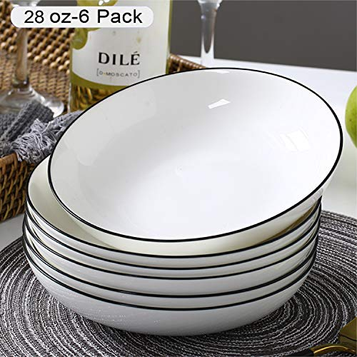 AnBnCn Porcelain Pasta/Salad Bowls - 28 Ounce - Set of 6, White