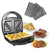 ozavo 3 en 1 sandwich grill gaufrier,sandwitch toaster 3 plaques de gril amovibles croque gaufre