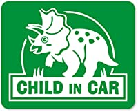 imoninn CHILD in car ステッカー 【マグネットタイプ】 No.72 トリケラトプスさん (緑色)