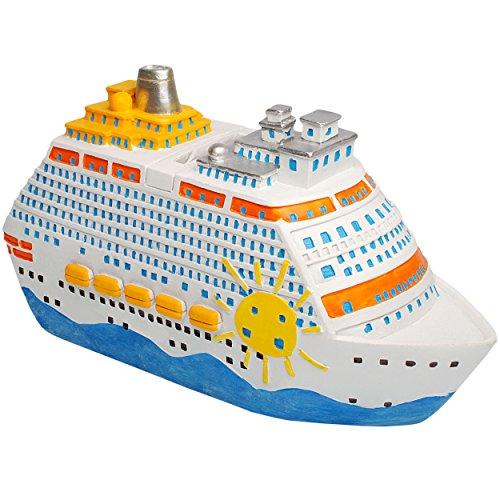 alles-meine.de GmbH große XL Spardose - 3-D Effekt _  Traumreise - Schiff / Kreuzfahrtschiff  - stabile Sparbüchse - aus Kunstharz / Polyresin - Sparschwein - für Kinder & Erwa..