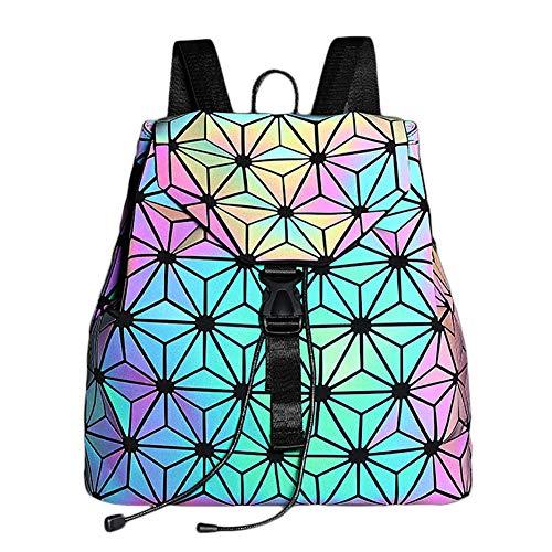 Holographic Geometric Backpack Reflective for Women Shard Lattice Holographic Shoulder Bag Hologram Backpacks, NO.6