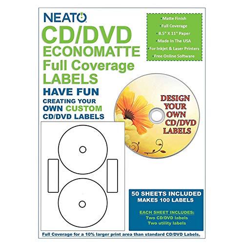 Neato CD/DVD Economatte Full Coverage Labels