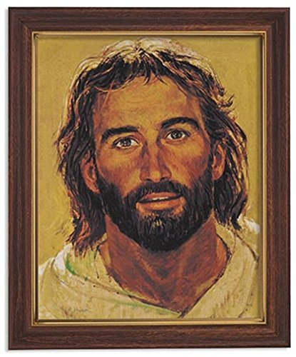Gerffert Collection Jesus Christ Framed Portrait Print, 13 Inch (Wood Tone Finish Frame)