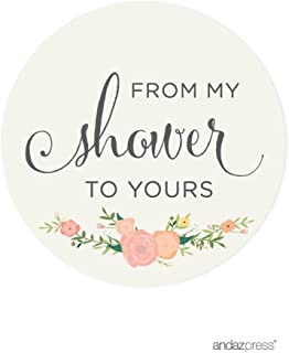 Andaz Press Baby and Bridal Wedding Shower Round Circle Label Stickers, from My Shower to Yours, Floral Roses, 40-Pack